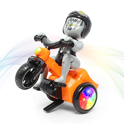 Fisca Electric Stunt Tricycle 360° Spinning Trike Musical Dancing 3 Wheels Motorcycle Toy with Lights for Kids Age 3, 4, 5 and Up Years Old