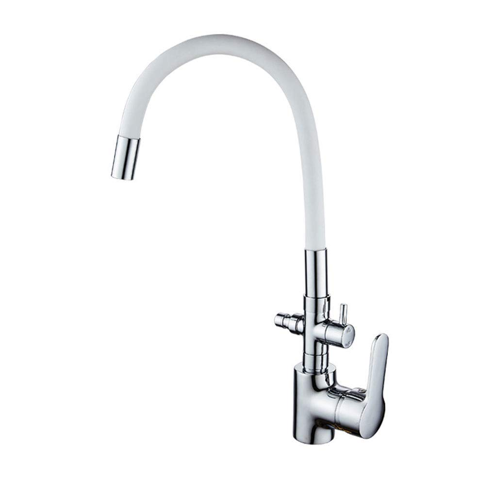 MWPO Kitchen Faucet Sink Hot and Cold Dishwasher Dual Use Multifunction 360 Degrees. Copper redating FANJIANI Bathroom Faucet (color  White)