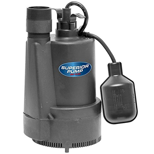 Superior Pump 92330 1/3 HP Thermoplastic Sump Pump with Tethered Float Switch (Sump Pump Plastic)