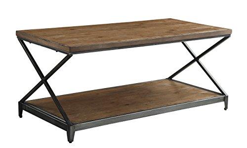 Acme Furniture 80445 Fabio Coffee Table, Oak & Antique Black - Durable metal frame Distressed Finish Bottom shelf - living-room-furniture, living-room, coffee-tables - 41 HFGsul3L -