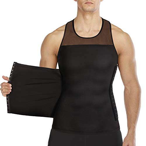 Men Body Shaper Slimming Vest Tight Tank Top Compression Shirt Tummy Control Underwear Moobs Binder (Black, M)