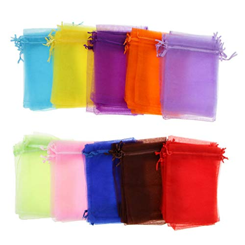 100pcs Assorted Organza Drawstring Pouches Candy Jewelry Party Wedding - Pearl Key Greek