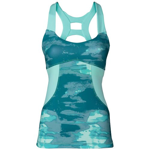 The North Face Women's Tadasana Sport Tank (X-Large, Mineral Blue Print/Beach Glass Green - Glasses North Face