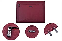 Leather Binder Portfolio, Organizer Padfolio with 3-Ring Binder for Letter Paper and 11-inch Laptop,Red