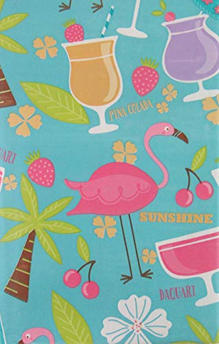 Summer Fun by Elrene Tropical Island Cocktail Party and Flamingos with Zipper Umbrella Hole Vinyl Flannel Back Tablecloth (70