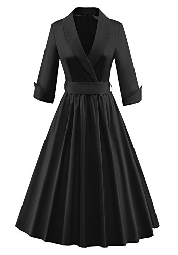 Tecrio Women Vintage Classy 1/2 Sleeve Rockabilly Solid Trench Coat Spring Dress L Black]()