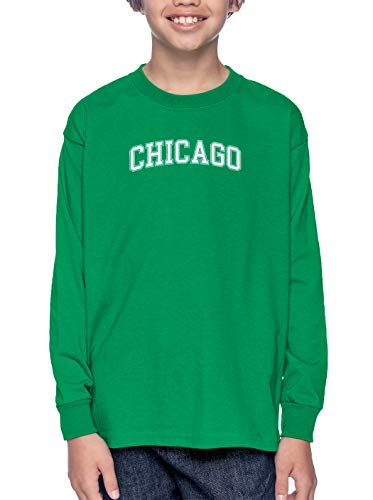 HAASE UNLIMITED Chicago - State Proud Strong Pride Long Sleeve Youth Shirt (Kelly, X-Small) -