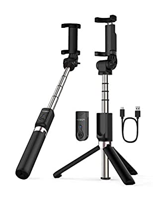 Yoozon Selfie Stick Bluetooth, Extendable Selfie Stick with Wireless Remote and Tripod Stand Selfie Stick for iPhone X/iPhone 8/8 Plus/iPhone 7/7 Plus/Galaxy S9/S9 Plus/Note 8/S8/S8 Plus/More