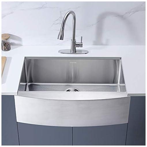 Farmhouse Kitchen Keonjinn Kitchen Sink, 33-inch Apron-front Farmhouse 16 Gauge Stainless Steel Single Bowl farmhouse kitchen sinks