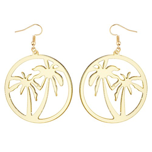 (Lux Accessories Gold Tone Palm Trees Tropical Summer Circle Dangle Earrings )
