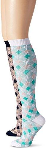 K Bell Diamond Pattern Knee High Socks