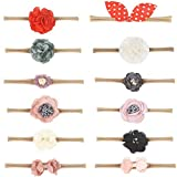 Jiaqee Baby Girl Headband Set- 12 Pack Of Assorted Headbands Bows Flowers For