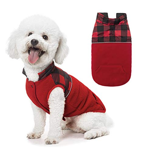 SCIROKKO Polar Fleece Dog Vest Winter Coat with Water-Proof Side - Reversible Pet Cold Weather Clothes - Plaid Jacket Cute Clothing for Puppy & Cats, Red Extra Small