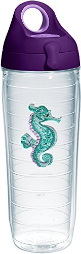Tervis 1254468 Purple Teal Seahorse Tumbler with Emblem and Purple Lid 24oz Water Bottle, -