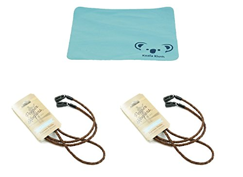 Peeper Keepers Braided Leather Cord Eyeglass and Sunglass Retainer / Strap, Light Brown (2 Pack)]()