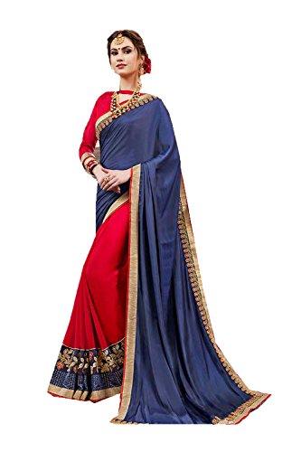 Da Facioun Indian Sarees for Women Wedding Designer Party Wear Traditional Blue & Red Sari. by Da Facioun