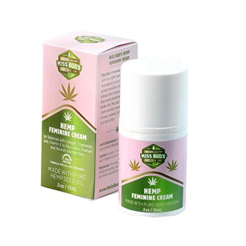 Miss Bud's Organic Hemp Intimate Feminine Vulva Cream Relieves Itching, Burning, and Redness Helps Maintain Balanced pH Levels Travel Size