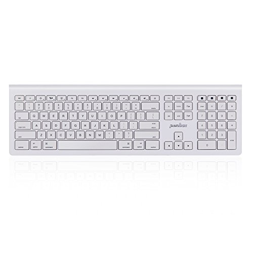 Perixx Periboard-806 Bluetooth Multi-Device Keyboard, Full Size 128 AES Keyboard with 11 Multimedia Keys Compatible with Mac OS X and iOS, White, US Layout