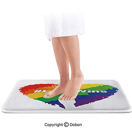 (Pride Decorations Bath Mat,Artful Illustration of Colorful Heart LGBT Colors Love Wins Hashtag Peace,Plush Bathroom Decor Mat with Non Slip Backing,32 X 20)