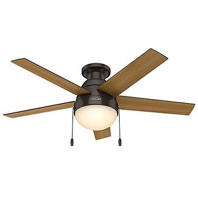 "Hunter 59268 Anslee Low Profile Premier Bronze Ceiling Fan With Light, 46"""