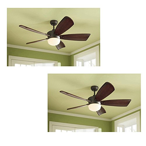 Set of 2 Harbor Breeze Saratoga 60-in Oil-Rubbed Bronze Downrod Mount Ceiling Fan with Light Kit and Remote