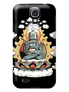 DIY Unique Special Robot Buddha Lucky Cloud Dark Black Hard Case Cover Fit For Samsung Galaxy S4 i9500 i9505 i9502