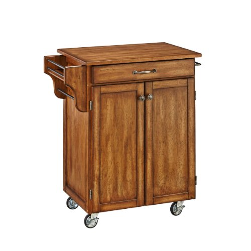Home Styles Cuisine Cart, Warm Oak Finish With Oak Top Features