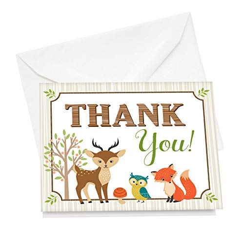 Lillian Rose 12 Piece Woodland Animals Thank You Cards -