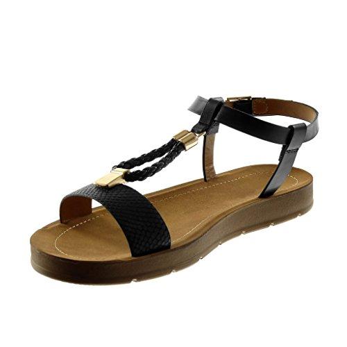 Angkorly Damen Schuhe Sandalen - Knöchelriemen - T-Spange - Schlangenhaut -  Golden - Geflochten ... ca61e0544b