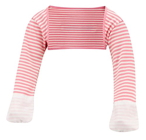 (ScratchSleeves | Little Girls' Stay-On Scratch Mitts Stripes | Pink and Cream | 4 to 5 Years )