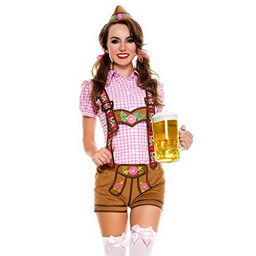 Lingerie For Women Sexy Lingerie Maid Outfit Maid Uniform Nurse Uniform Cosplay Beer Festival Outfit Beerfest Performance Oktoberfest Costume Bodysuits,L