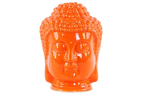 Buddha Statue Ceramic Head (Urban Trends Ceramic Buddha Head with Beaded Ushnisha Gloss Finish Orange, Orange)