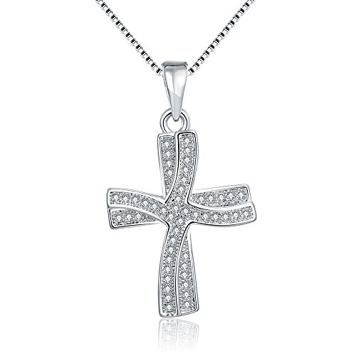 Alan M. Arevalo Elegant Womens Fashion Cross Pendent Necklace with Studded Cubic Zirconia Stones