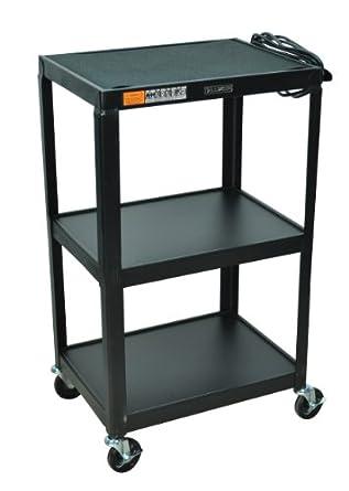 LUXOR AV42 Fixed Height Mobile Rolling AV Table Cart Black With 3 Electric  Outlet, 2