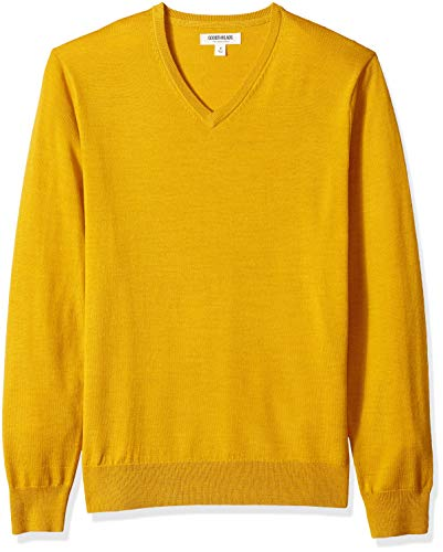 (Goodthreads Men's Merino Wool V-Neck Sweater, Yellow, XX-Large)