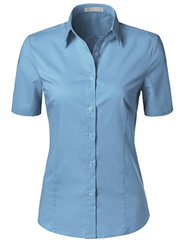 (H2H Womens Versatile Short Sleeve Slim Fit Button Down Shirt Blouse Top Denim XL)