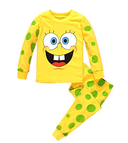 Rling Kids Spongebob Squarepants Pants Pajamas Cotton Toddler PJS (Yellow, 5t) -