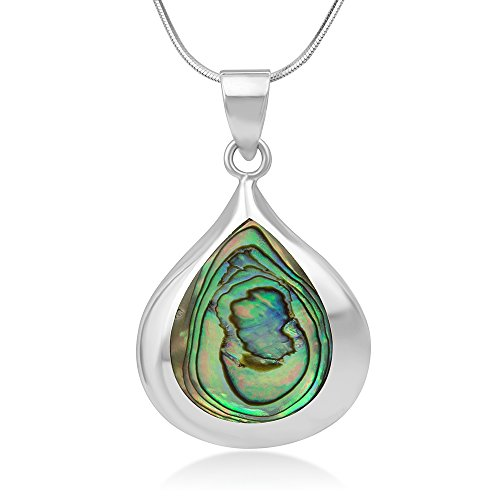 925 Sterling Silver Natural Abalone Shell Inlay Teardrop Pendant Necklace, 18 inches Chain (Shell Jewelry Red)