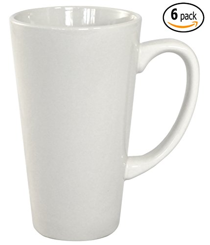 White 16 Ounce Mug (ITI Ceramic Tall Funnel Cup Coffee Mugs with Pan Scraper, 16 Ounce (6-Pack, Pure White))