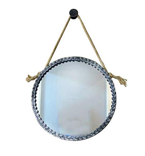 Gflyme Makeup Mirrors Retro Round Wall Bathroom Mirror Hanging Mirror with Rope -
