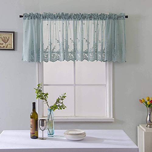 WUBODTI Valance Teal Embroidery Curtain for Kitchen Window,Teal Elegant Lace Embroidered Semi Sheer Blackout Drapes,Window Treatments Panel,52x16 Inch,1 Panel ()
