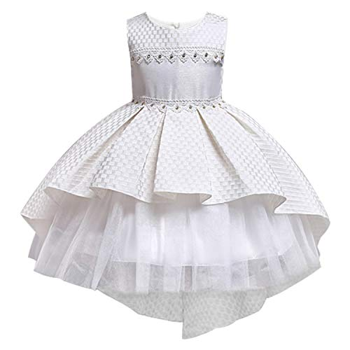 Flower Tutu Kids Clothing Satin Elegant Lace Sleeveless Girls Dresses for Children Princess Party Costumes 3 4 6 8 10 12 Years,Ivory,8 ()