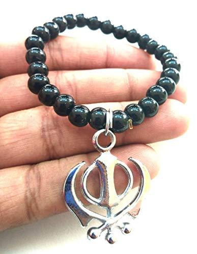 (Stainless Steel Punjabi Sikh Khanda Charm with Tourmalin Bead Men/Women Bracelet Neckless Bracelet for Prosperity Good Luck Perfect Housewarming Gift)