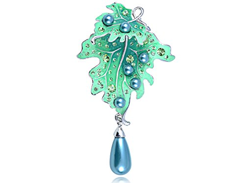 Crystal Brooch Dangling (Alilang Swarovski Crystal Elements Blue Faux Pearl Peridot Gems Dangling Leaf Pin Brooch)