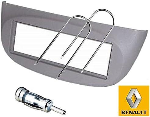 Sound-way Kit Montaje Autoradio, Marco 1 DIN Radio para Coche, Llaves de Desmontaje, Adaptador Antena, Compatible con Renault Clio