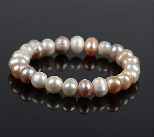 - LOSOUL Cultured Fresh Water Pearl Flat Oval Beads Stretch Bracelet Fashion Woman Jewelry