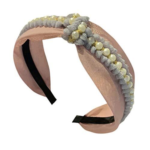〓COOlCCI〓 Women Head Band,Pearl Headwraps Hair Bands, Headbands for Women,Hair Accessorie Headwear Hairband Pink