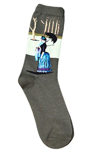 Bigood 1pcs Women's Famous Painting Mona Lisa Artwork Crew Socks Cotton Sock #F