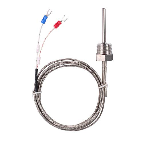 Waterproof K Type Thermocouple – Jaybva Temperature Sensor Probe for PID Temperature Controller Two Wire Stainless Steel NPT 1 2 inch Pipe Thread 0 500 with 2m Shield Wire