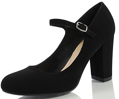 City Classified Comfort Women's Nola Faux Nubuck Leather Mary Jane Chunky High Heel, Black, 85 M US ()